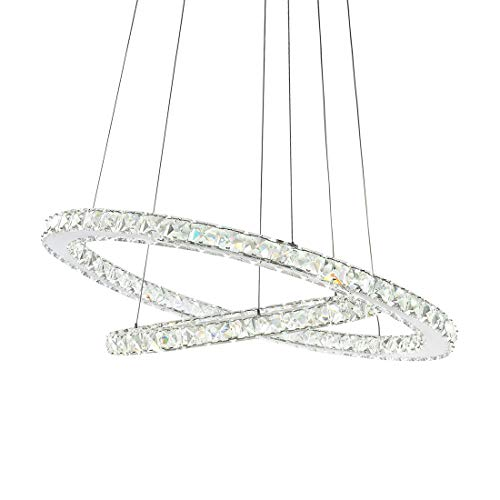 SILJOY Modern Galaxy Round Rings Crystal Chandeliers LED Pendant Ceiling Lights Fixtures Adjustable Chandelier Lighting for Dining Room Living Room Two Rings (15.7-23.6 Inches), Cool White