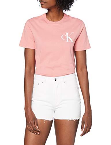 Calvin Klein High Rise Short Shorts, Bianco (Da074 White Rwh Embroidery 1Cd), Unica (Taglia Produttore: NI28) Donna