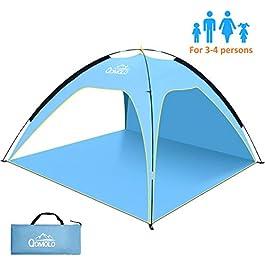 Qomolo Tente de Plage 3 ou 4 Personne, Abris de Plage Anti UV50+ pour Famille,Pliable Extérieur Auvent pour Camping avec…