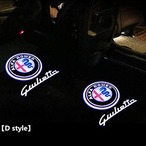 Accesorios de decoración de proyector de luz de bienvenida de puerta de coche LED para Alfa Romeo Giulia Giulietta Mito Stelvio GT 147156159 GT estilo de coche