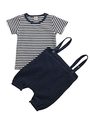 2 Stück Summer Baby Boy Casual Anzug Outfits Leinen mit Hosenträgern Outfits Kleidung Set Overalls und Streifen T-Shirts Kleidung Sets (1, 100)