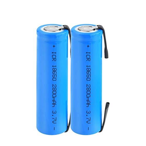 RitzyRose Batería de iones de litio de 3,7 V, 2800 mAh, ICR 18650, con pilas recargables con lengüetas para linterna para portátil (2 unidades)