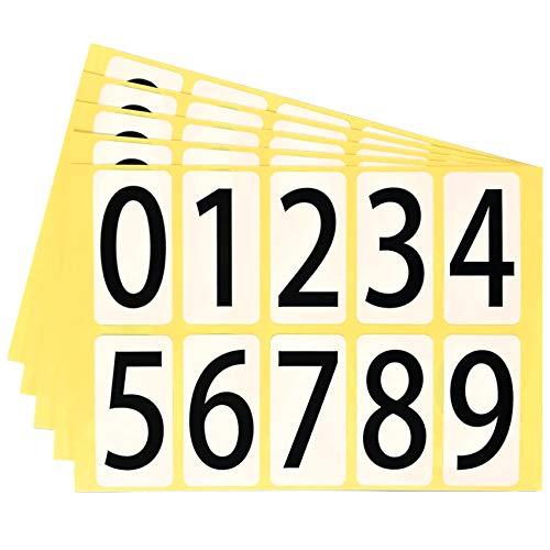 ユポ 数字シール ナンバー ステッカー 22K095 【中】 番号 ラベル PP加工 防水 耐候性 屋外【22×44mm/片】0〜9の10種各1片×5シート 22K095