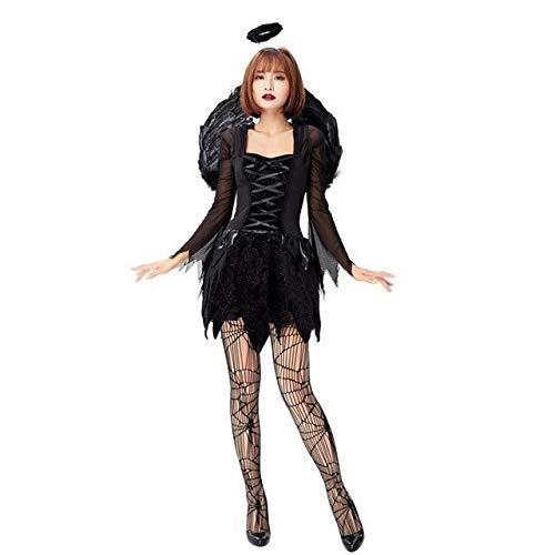 ZHANGHUI Trajes de Miedo De Halloween Vestidos de Las niñas, Las Mujeres más el tamaño de Disfraces de Halloween, Vestido Hembra Adulta Dress (Color : Black, Size : L)