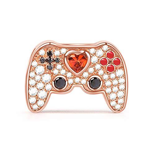 GNOCE Charm Gamepad in Agento S925 Amo I Videogiochi Oro Rosa Charm Bead con Zirconi per Bracciali e Collana Regalo di Natale per Famiglia Moglie Figlia Amico