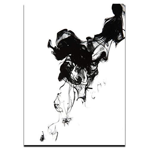 Guokaixyz Chinese schilderij in zwart en wit met diffusie van vloeistof, vliegtuig, canvas, abstracte kunst, druk, foto, wand, decoratie voor thuis zonder lijst 15x20cm 1 x Polsband