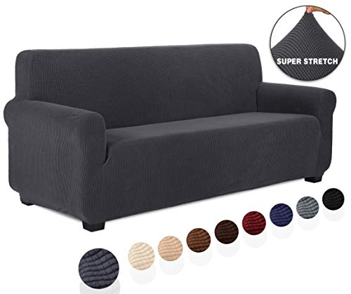 TIANSHU Sofabezug 3 sitzer, Stretch Spandex Couchbezug Sesselbezug Elastischer Antirutsch Stretchhusse Weich Stoff,Jacquard-Stretch-Sofabezug, Schonbezug für Sofa-Sofahalter(3 Sitzer,Grau)