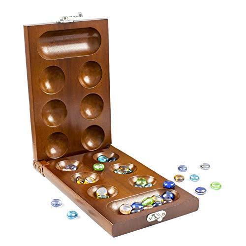 iBaste Kalaha Spiel, Faltbar, aus Holz, Mancala Brettspiel mit Steinen Massivholz Erwachsene Kinder Puzzlespiel