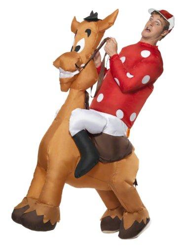 Aufblasbarer Jockey und Pferd Kostüm mit Jersey und Kappe, Medium