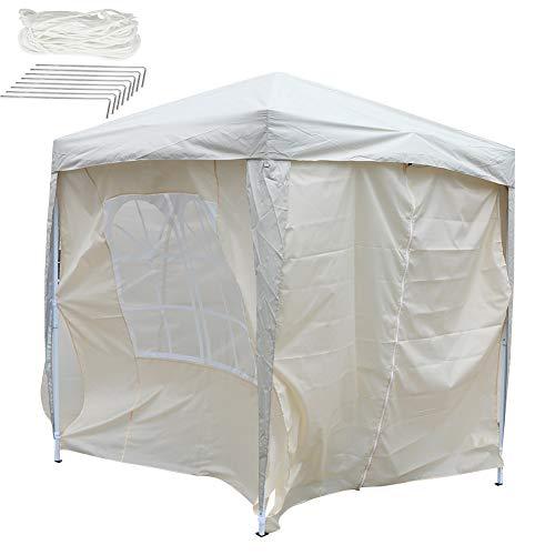 EBTOOLS 4 paredes laterales + 2 carpas de tamaño completo para toldo, tienda plegable de 2 x 2 m, tienda de campaña al aire libre, beige para jardín, camping, boda, barbacoa, fiestas