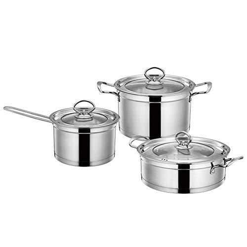Kookgerei Set van roestvrij staal kookgerei Set van 3 Home Restaurant Professionele servies Geschikt voor alle kachels inclusief inductie Cooker As picture ZILVER