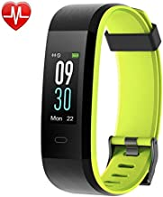 YAMAY Fitness Tracker, Heart Rate Monitor Watch Fitness Watch Activity Tracker IP68 Waterproof Pedometer with Step Counter Sleep Monitor 14 Sports Tracking for Women Men Kid (Color Screen) (Green)