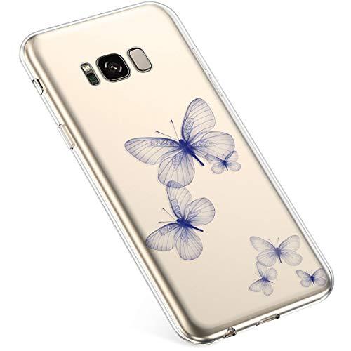 Uposao Coque pour Samsung Galaxy S8 Silicone Etui, Galaxy S8 Coque Transparent avec Motif Fleur Crystal Clear Case Premium Semi Hybrid Ultra Mince Slim Soft TPU Antichoc Bumper,Papillon Bleu