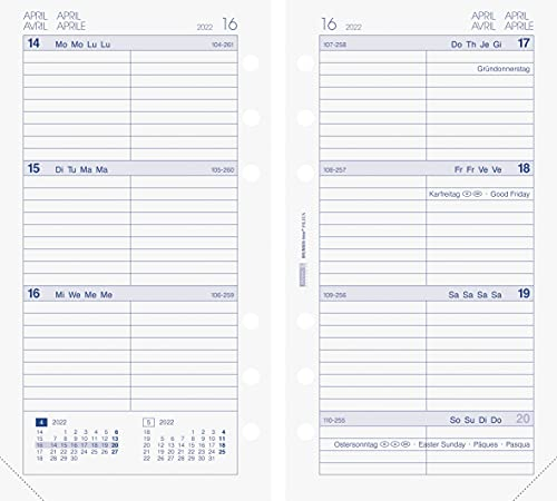 BRUNNEN 1074903002 Wochenkalendarium, Zeitplansysteme, 2022, 2 Seiten = 1 Woche, Blattgröße 9,3 x 17,2 cm