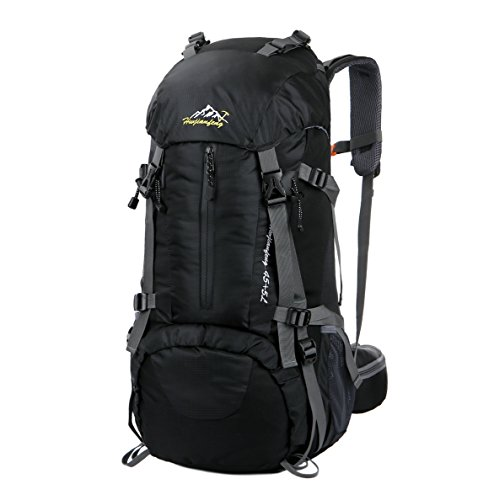 WoneNice 50L(45+5) Waterproof Hiking Backpack - Outdoor Sport Daypack with Rain Cover (Black)