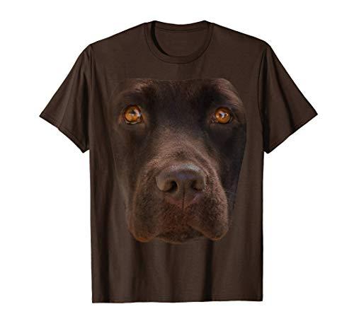 Disfraz de cara de perro marrón oscuro de Chocolate Lab Camiseta