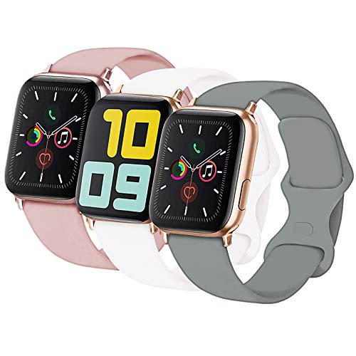 3-Pack Idon Sport Band Compatible for Apple Watch Band 42MM 44MM M/L, Soft Silicone Sport Bands Replacement Strap Compatible with iWatch Series SE/6/5/4/3/2/1, Concrete + Pink Sand + White