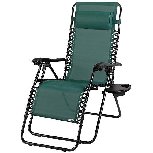 Casaria Chaise de Jardin inclinable avec Dossier réglable Vert avec Repose-tête Transat Acier Chaise Longue