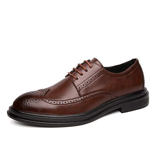 WZQDM Oxfords Vestido Falso Piel de Piel Zapatos para Hombres con Puntas de alas Brogue 4-Ojos Lace Up Trool Toe Grueso Bloque Tacón Sintético Condón Suela (Color : Brown, Size : 40 EU)