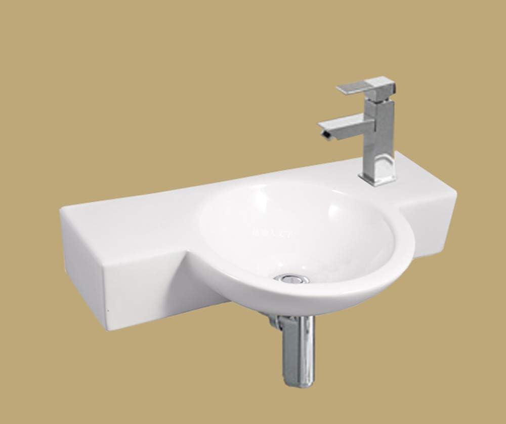 Omeere 40x23cm - Lavabo de cerámica baño,ovalado,Lavabo sobre encimera,Lavamanos Cuarto de Baño,tamaño pequeño,lavabo suspendido