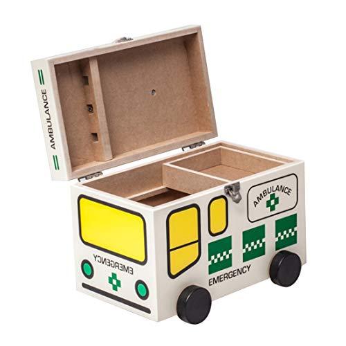 LIBILAA houten medische doos met slot, EHBO-doos noodgeval medicijnkastje kinderbewijs medicijnkastje Protable Drugs opbergdoos Groen