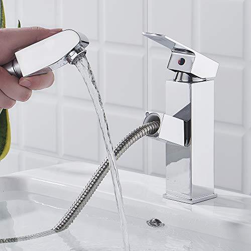 Grifo de Lavabo Monomando con Ducha Extraible, Agua Fria y Caliente Disponible, Grifo Baño Lavabo de Latón Cromo Grifo Mezclador para Baño
