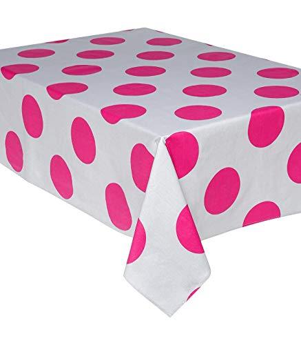 AC-Déco Nappe rectangulaire 145 x 240 cm - Coton Enduit - Pois - Rose