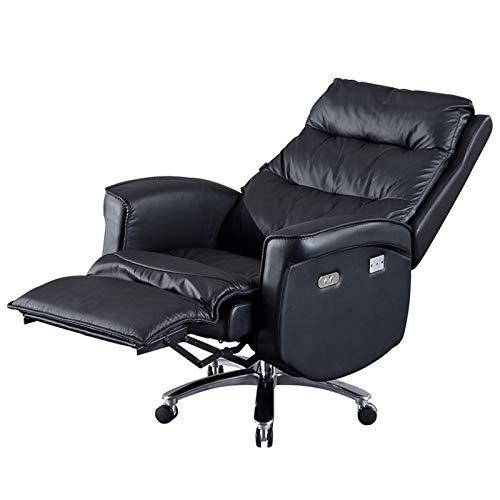 HYAN Silla de Oficina de reclinación de reclinación eléctrica Silla de sofá para Estudio para Estudio Silla de computadora Suave Ajustable de Negocios con reposabrazos y Pedales (Color : Black)