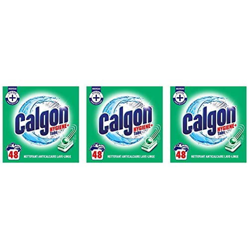 CALGON Hygiene Plus Anti-Limescale Tablets for Washing Machines - 3 Boxes of 48 Tablets