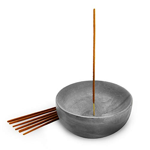 Slice of Goodness Gray Cement Large Bowl Incense Holder - Modern Minimalist Upright Standard Size Incense Burner - Incense Sticks Not Included - ONLY for Small 1MM Size Incense Sticks