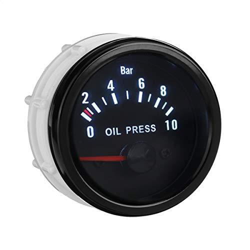 QINGJIA Kit de Calibre de presión de Aceite de Lente Transparente de 2'con 1/8 NPT Sensor
