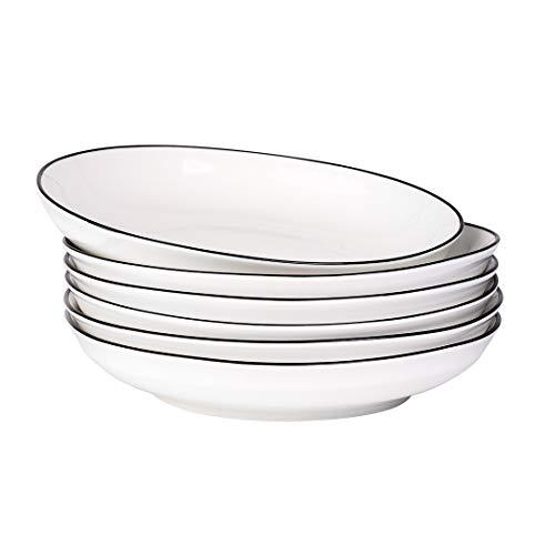 YOLIFE 20,3 cm große Porzellanteller, flache Teller für Salat, Nudeln, Müsli, Suppe, 6 Stück