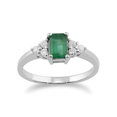 Gemondo Emerald Anillo, 9CT Oro Blanco 0.53 Quilates Natural Esmeralda & Diamante Anillo Piedra Única