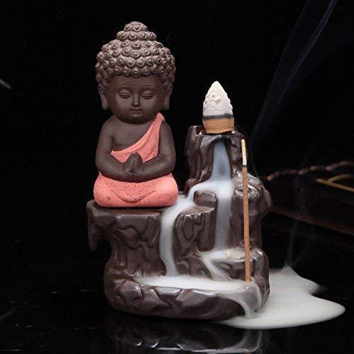 Culture and you Ceramic Incense Burner With Cones (7 x 7 x 12 cm, Orange)