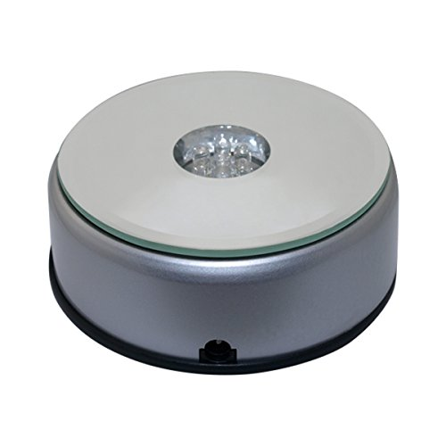 VOSO 7 LED Light Rotating Display Base Stand For Crystal
