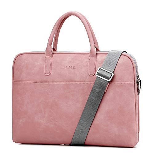 SHUL Leather Laptop Shoulder Bag 14.6 inch Computer Case Sleeve Business Office Briefcase Messenger Bags Handbag for Women Ladies Pink