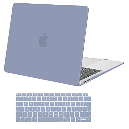 MOSISO MacBook Air 13 Case 2020 2019 2018 Release A2179 A1932 with Retina Display, Plastic Hard Case Cover Shell & Keyboard Skin Cover Only Compatible with MacBook Air 13 with Touch ID, Lavender Gray