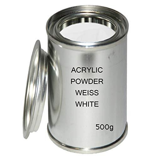 Acryl Pulver White 500 g - Acrylpulver Weiss Acrylic Nails - Puder Weiß für Acrylnägel Nagelmodellage Acrylpuder