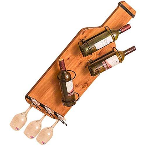 Vinteen 3 Flaschen/Kopf gestellt Kelch Weinglas Weinregal Weinregal Wand- / Weinregal aus Holz Wand/Vintage Weinregale Wandhalter Metallhalter