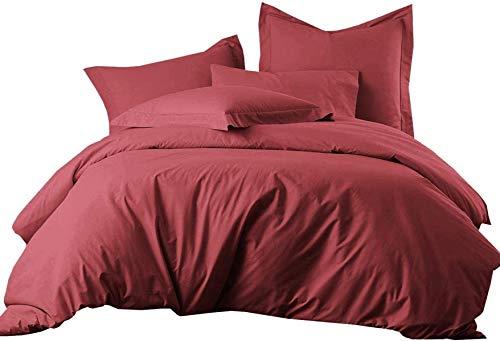 QWAS Ropa de cama roja festiva, ropa de cama de 100% microfibra, 1 funda nórdica y 2 fundas de almohada de tres piezas (A1,135 x 200 cm + 50 x 75 cm x 2).