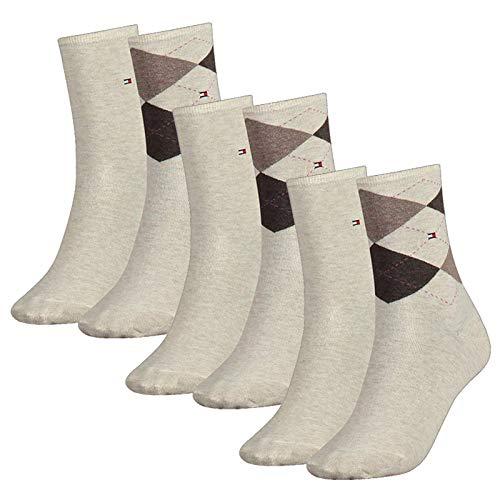 Tommy Hilfiger Damen Socken, Check Sock, Strümpfe, Rauten, 6er Pack (Beige, 35-38 (6 Paar))