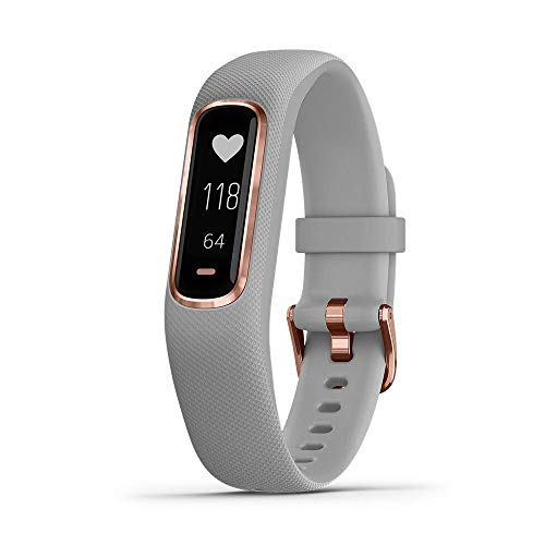Garmin vívosmart 4, Activity and Fitness Tracker w/ Pulse Ox and Heart Rate Monitor, Rose Gold w/ Gray Band (Renewed)