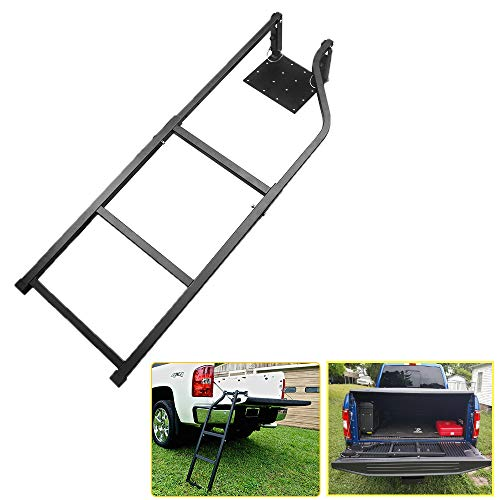 Universal Fit Pickup Truck Tailgate Ladder Tailgate Ladder for Truck Black 42 Inches Ladder Capacity 300 lbs Durable Steel with Black Powder Coat