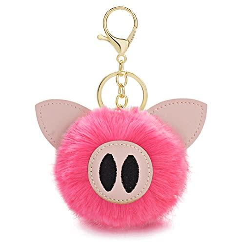 MLOPPTE Schlüsselbund,Schweinchen Schwein Schlüsselanhänger Hase Kaninchen Fell Ball Schlüsselringe Tier Leder Schmuckstücke