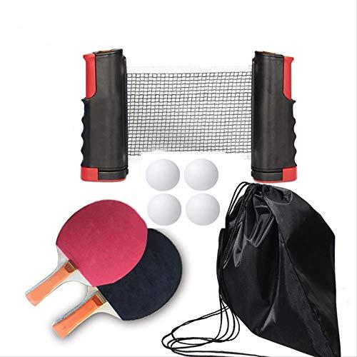 AHPONEX Mesa de tenis de mesa al aire libre, retractable, durable red de tenis de mesa (2 raquetas, 4 bolas, una bolsa y una red retráctil)