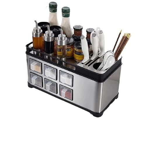 ZJG Especiero, Caja de Almacenamiento de Condimentos de Cocina de Acero Inoxidable, para La Mesa del Armario del Gabinete de La Despensa,Black