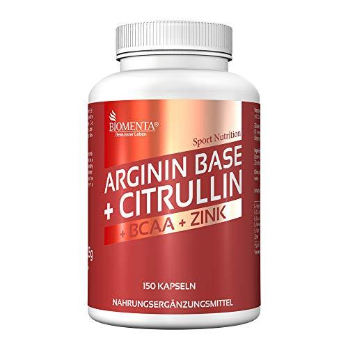BIOMENTA L-Arginin + Citrullin – mit 3.500 mg L-Arginin Base + 1.000 mg L-Citrullin Malat + 1.000 mg BCAA + Zink - 150 Arginin Citrullin Kapseln – ohne Trennmittel oder Zusätze