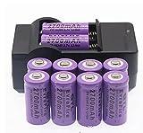 Pilas Recargables 16340 Batería De Litio 3.7V Punta 2700Mah Linterna Puntero Láser.Cargador De 3.7V 1Pcs + Batería De 10Pcs
