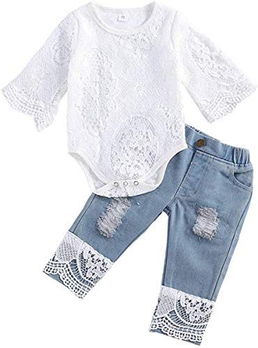 Baby Girl Clothes Outfits Toddler Infant Baby Romper Top+Jeans Clothing Set White