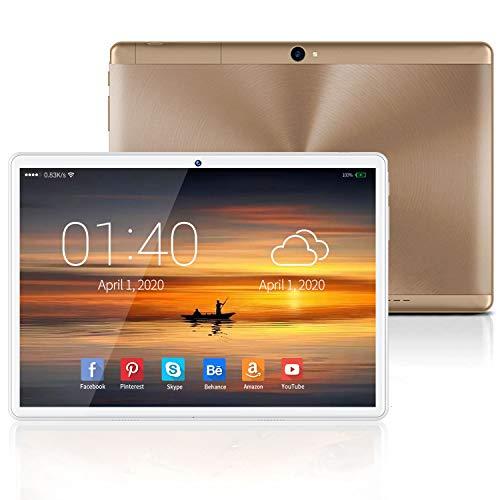 4G Tablet 10.1 Pollici con Wifi Offerte Tablet PC Android 9.0 GO, Certificazione GMS Google, 4GB RAM+64GB/128ROM, Type-C 8000mAh 8MP Quad Core Dual SIM Bluetooth/ Netflix/Google Play (oro)